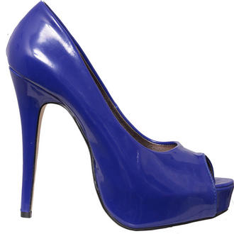 View Item Blue Patent Peeptoe Platform Shoe